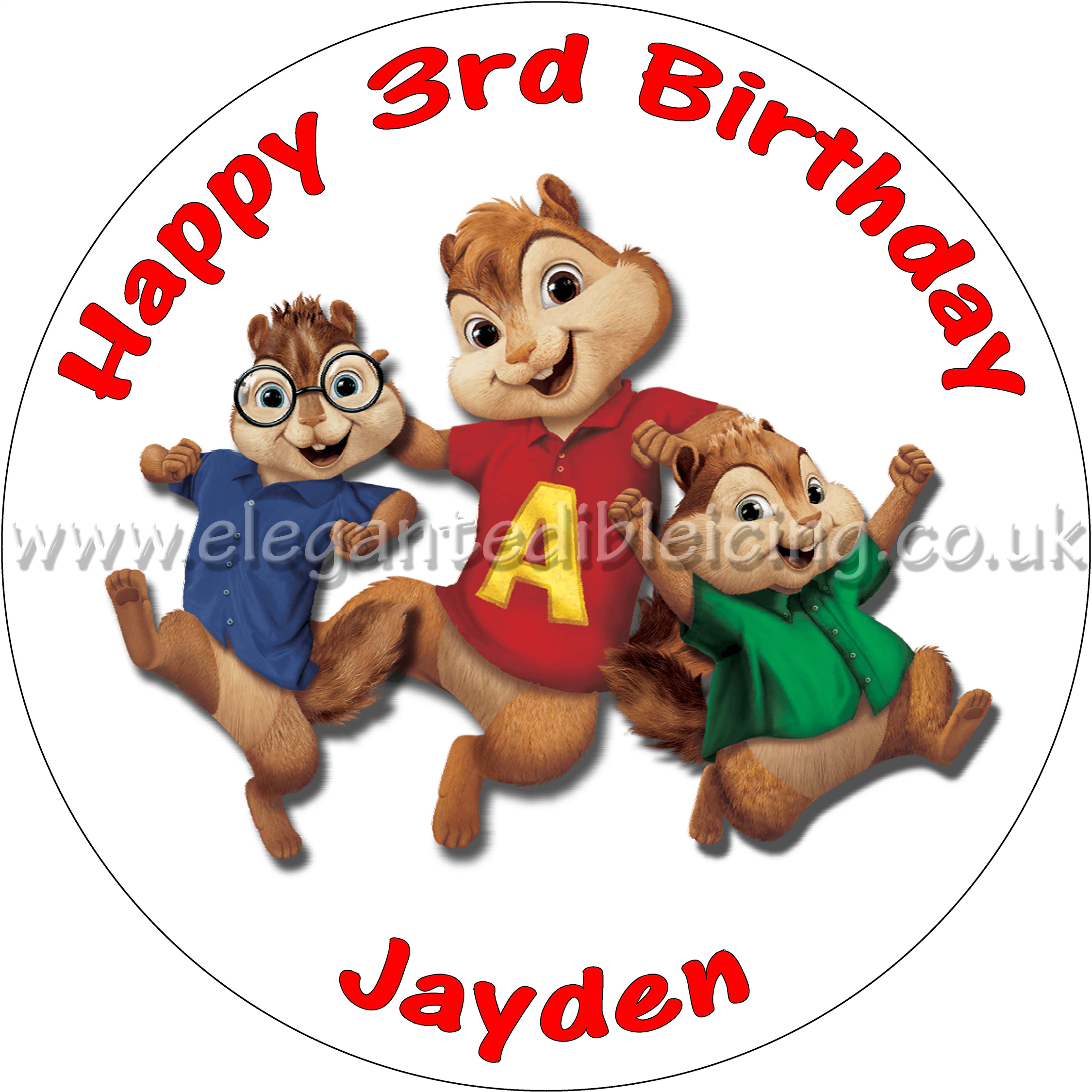 Terrific Alvin And The Chipmunks Cake Topper Personalised Funny Birthday Cards Online Sheoxdamsfinfo