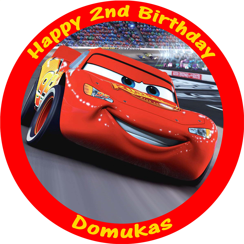 Fine Cars Lightning Mcqueen Edible Personalised Round Birthday Cake Personalised Birthday Cards Cominlily Jamesorg
