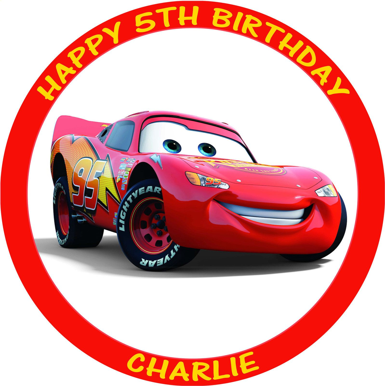 Cars Lightning Mcqueen Round Personalised Edible Birthday