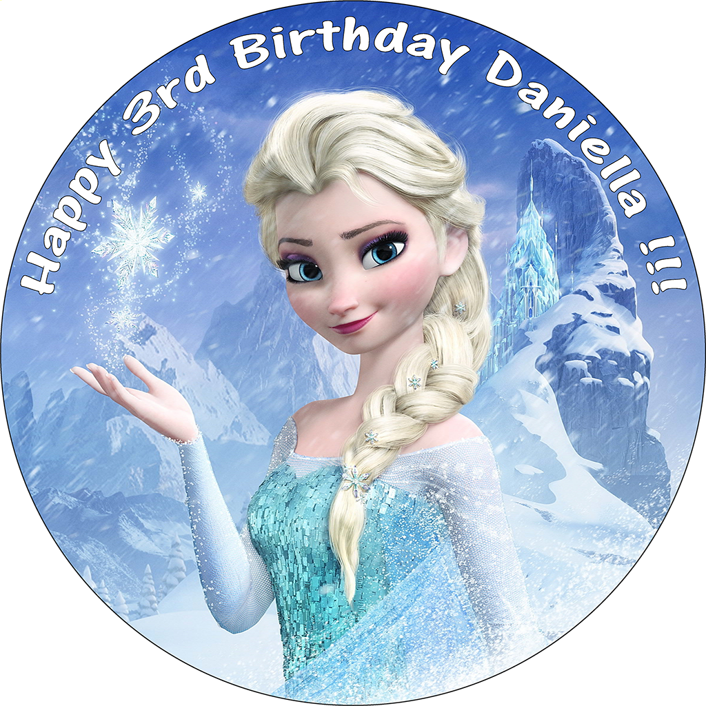 DISNEY FROZEN ELSA BIRTHDAY CAKE EDIBLE ROUND PRINTED TOPPER DECORATION