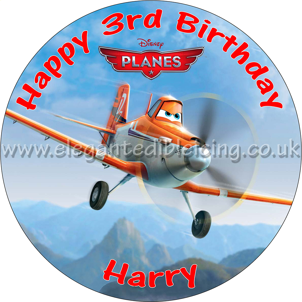 Pleasing Disney Planes Party Edible Round Birthday Cake Topper Decoration Funny Birthday Cards Online Barepcheapnameinfo