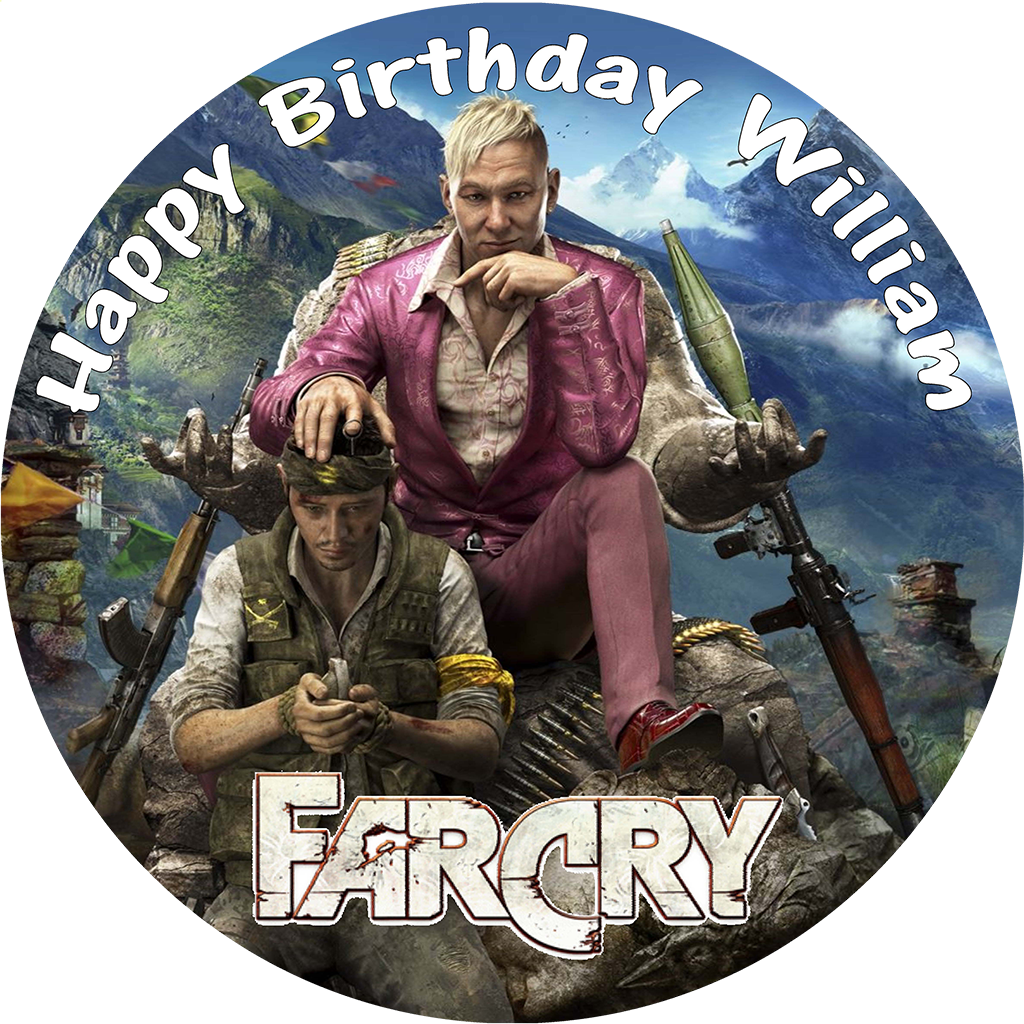 Farcry Personalised Round Birthday Cake Edible Topper 756 1 P