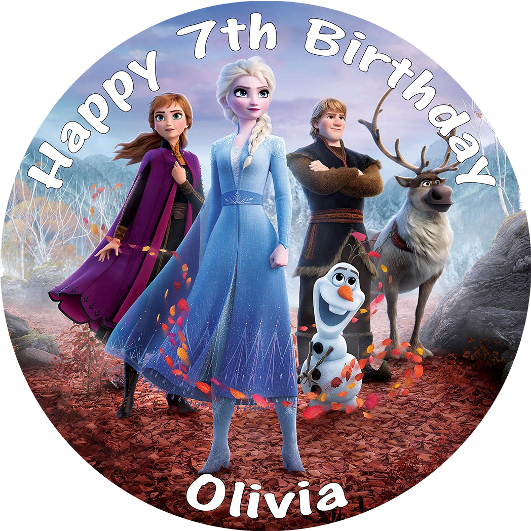 Outstanding Frozen 2 Personalised Edible Round Birthday Cake Topper Funny Birthday Cards Online Elaedamsfinfo