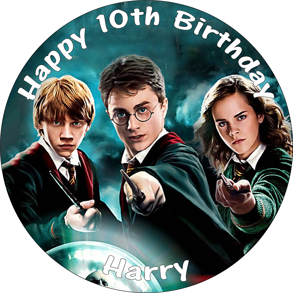 HARRY POTTER PERSONALISED EDIBLE ROUND PRINTED BIRTHDAY CAKE TOPPER DECORATION
