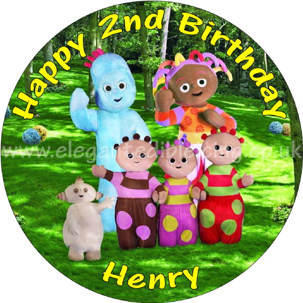 IN THE NIGHT GARDEN EDIBLE ROUND BIRTHDAY CAKE TOPPER DECORATION PERSONALISED