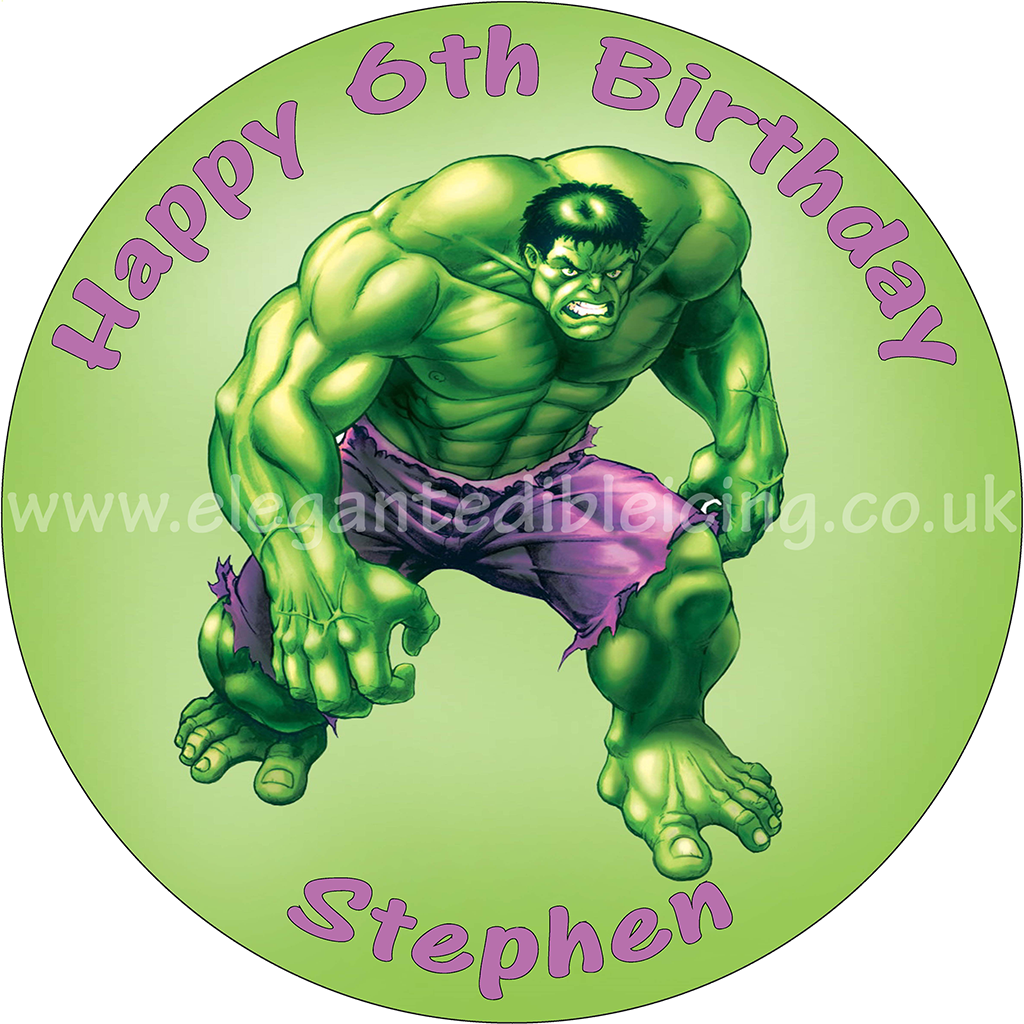 Super Incredible Hulk Round Edible Printed Birthday Cake Topper Funny Birthday Cards Online Bapapcheapnameinfo