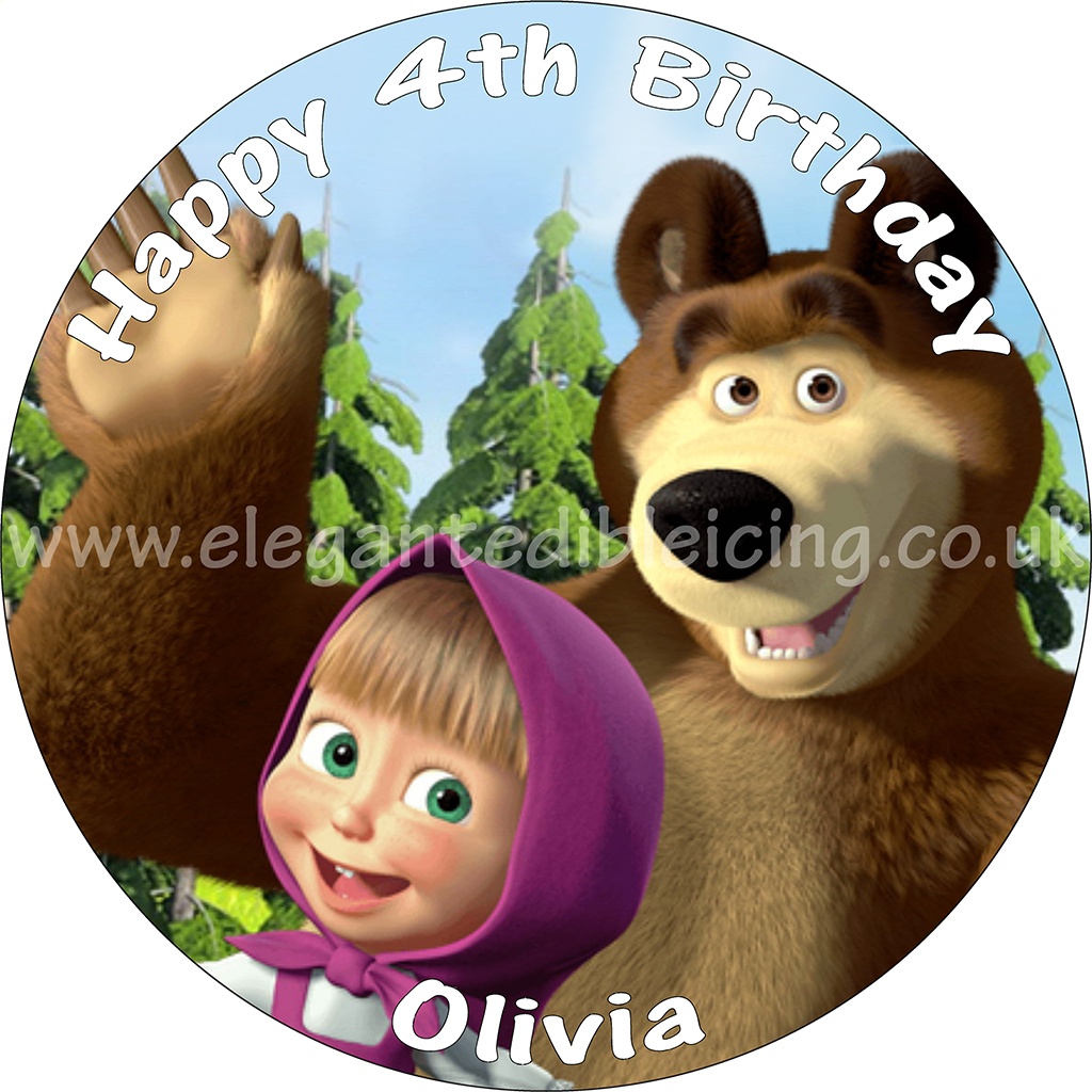 MASHA AND BEAR CAKE TOPPER ROUND PERSONALISED EDIBLE BIRTHDAY CAKE