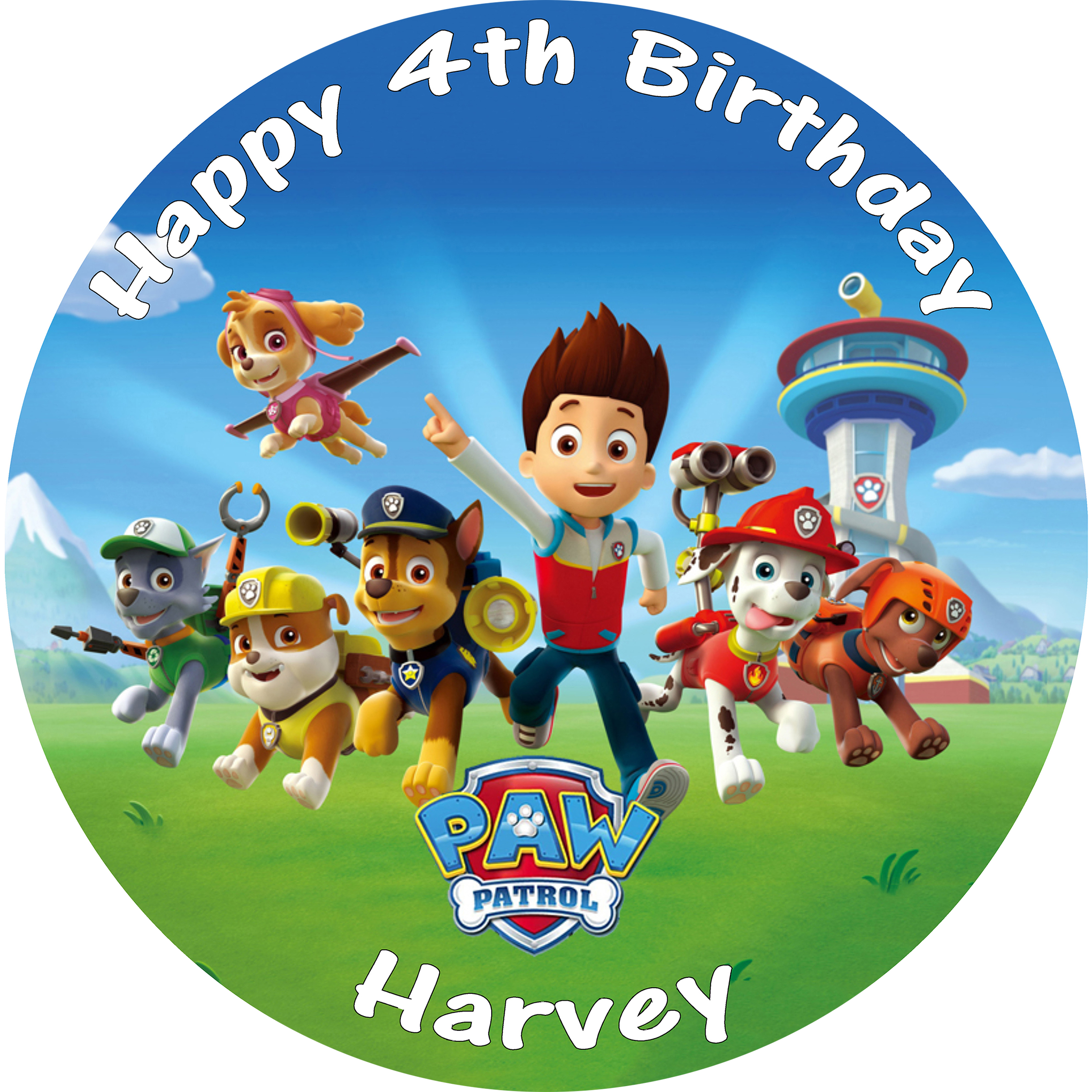 PAW PATROL CAKE TOPPER BIRTHDAY EDIBLE ROUND PRINTED DECORATION
