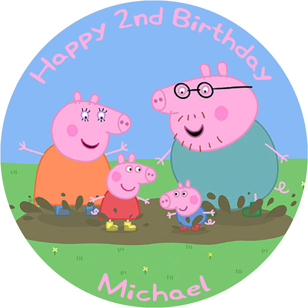 Amazing Peppa Pig Birthday Cake Edible Printed Round Funny Birthday Cards Online Overcheapnameinfo