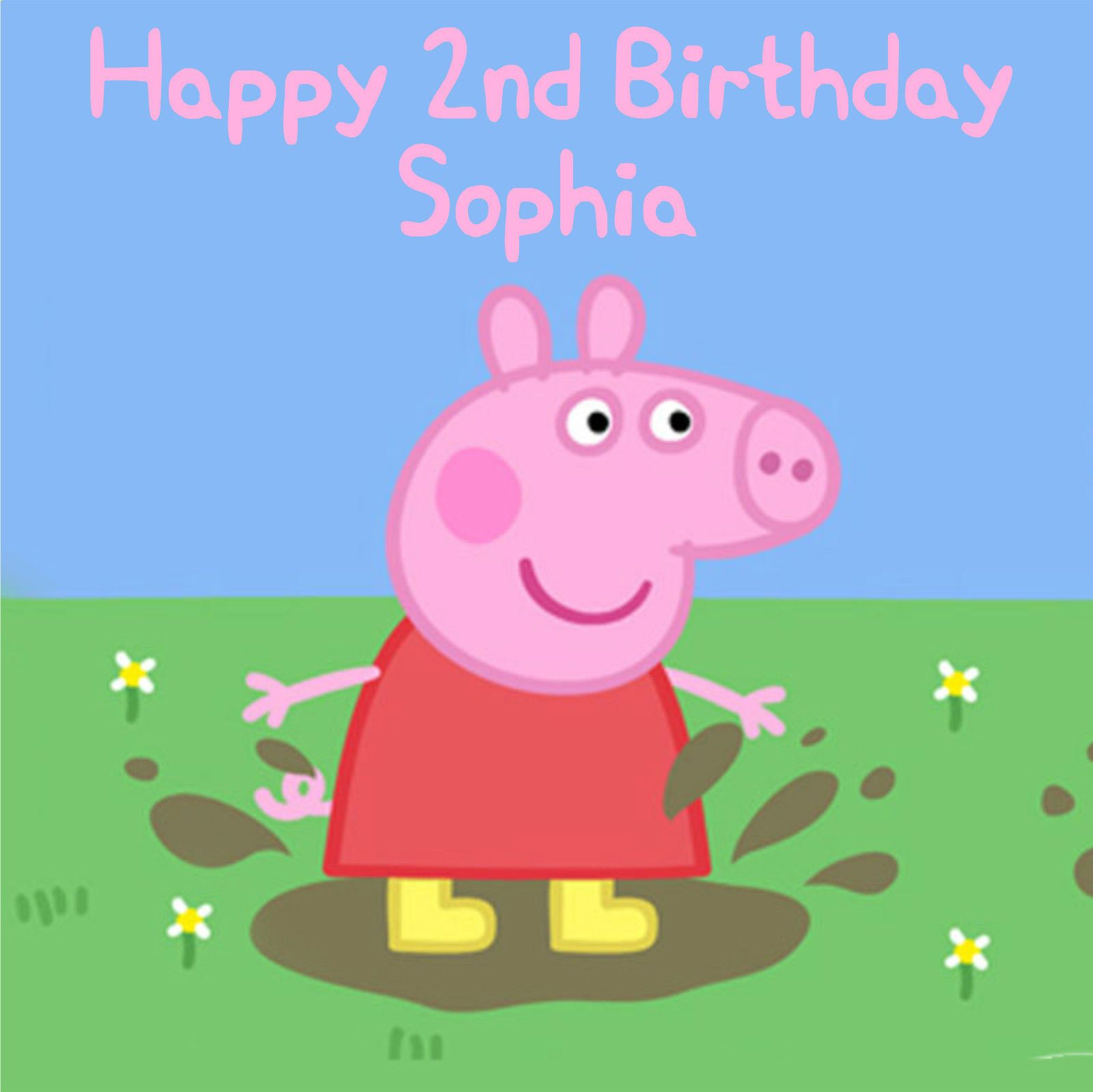 Peppa Pig Square Edible Birthday Cake Topper Decoration Rice Paper Or Icing Sheet 8 179 P