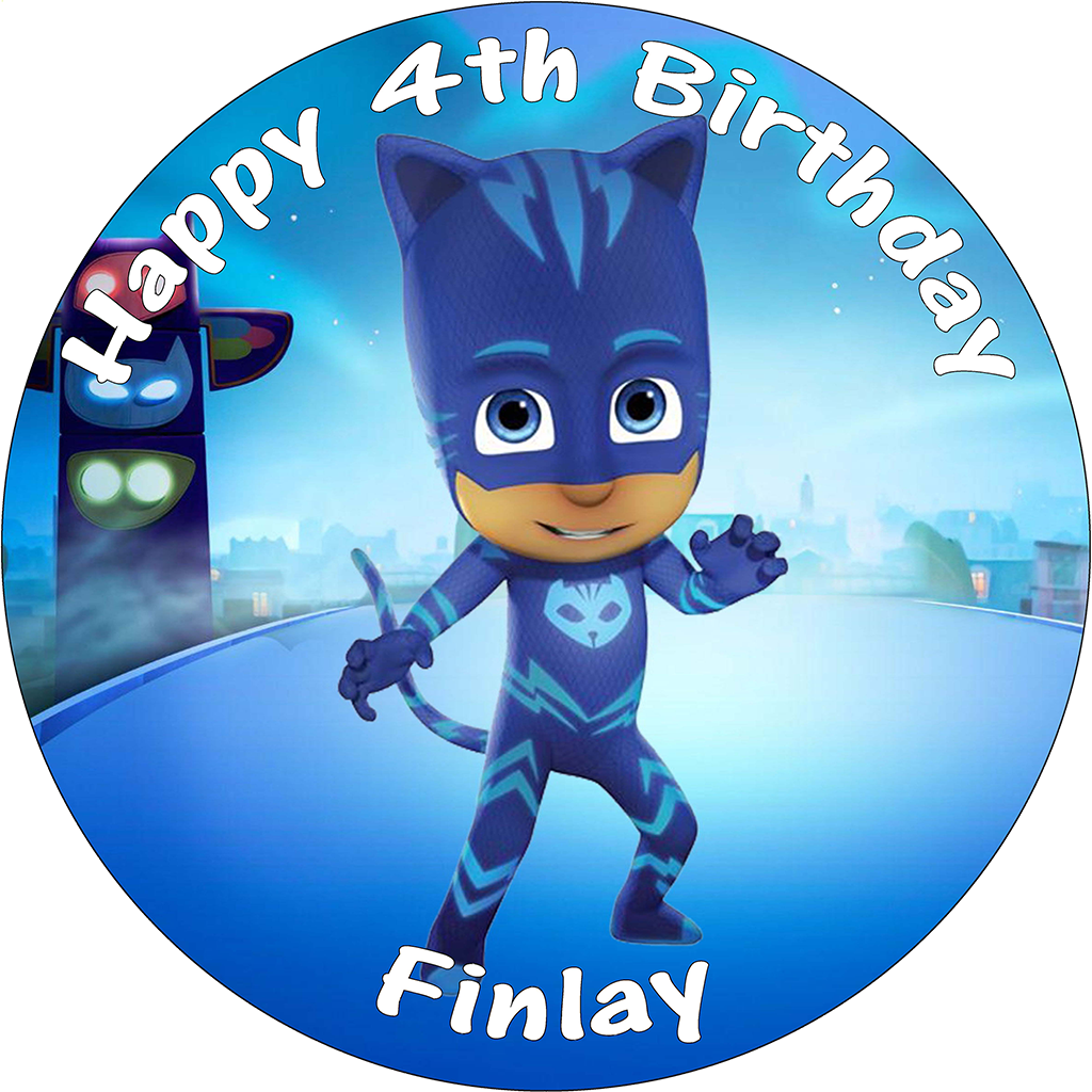 Pj Masks Catboy Birthday Cake Edible Round Printed Topper Decoration 742 1 P