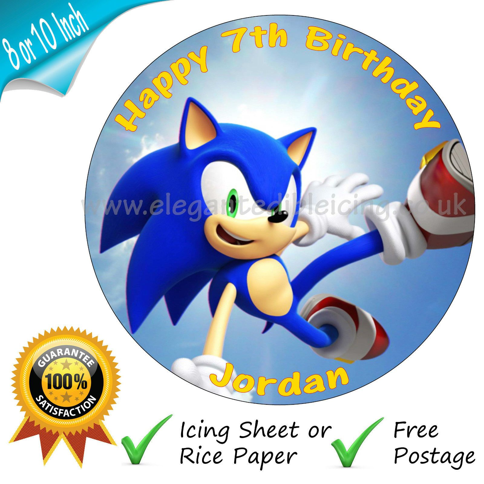 Surprising Sonic The Hedgehog Personalised Edible Round Birthday Cake Topper Funny Birthday Cards Online Bapapcheapnameinfo