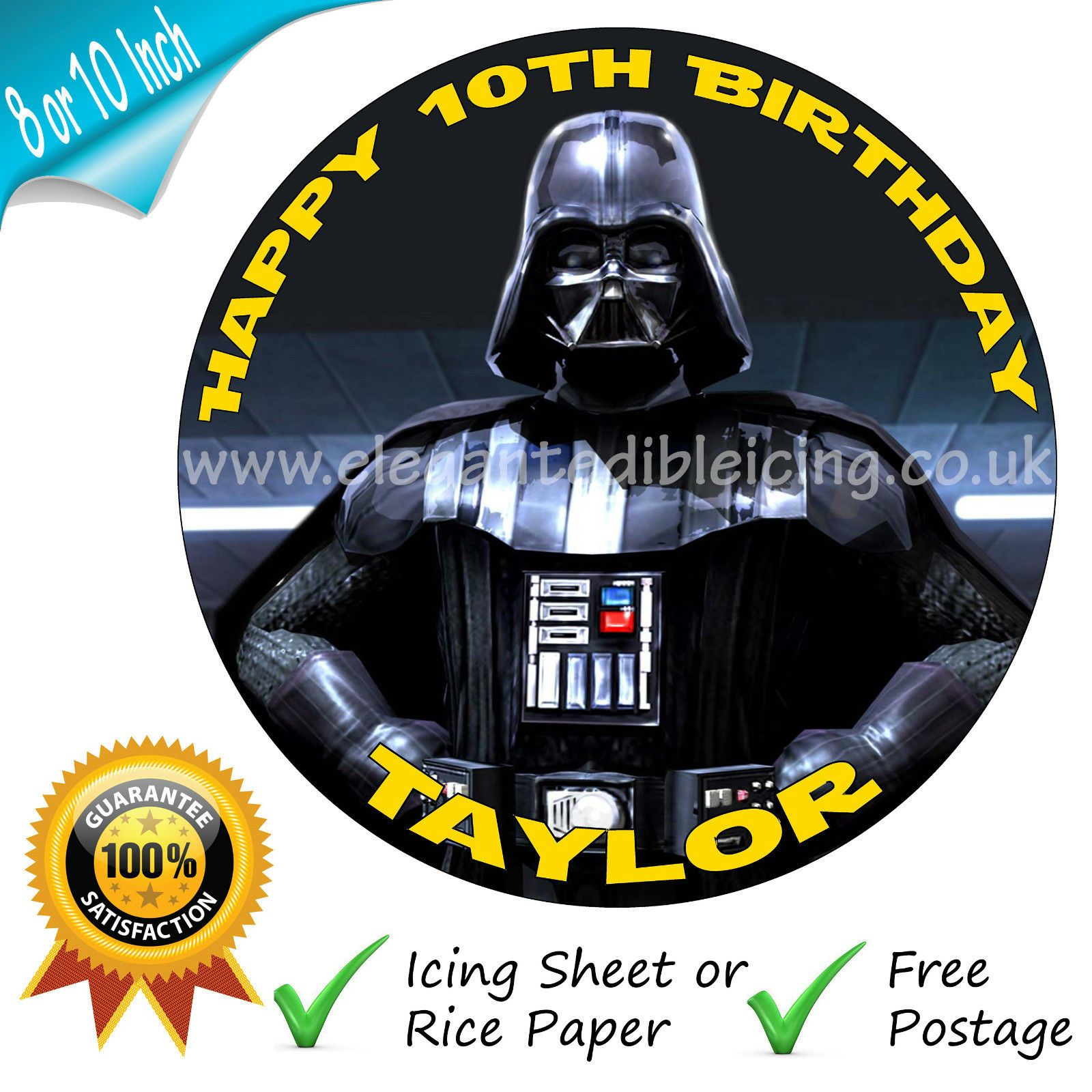 Swell Star Wars Darth Vader Edible Round Birthday Cake Topper Funny Birthday Cards Online Bapapcheapnameinfo