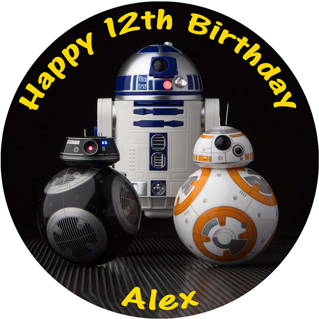 STAR WARS LAST JEDI BB8 R2D2 BB9E PERSONALISED ROUND EDIBLE BIRTHDAY