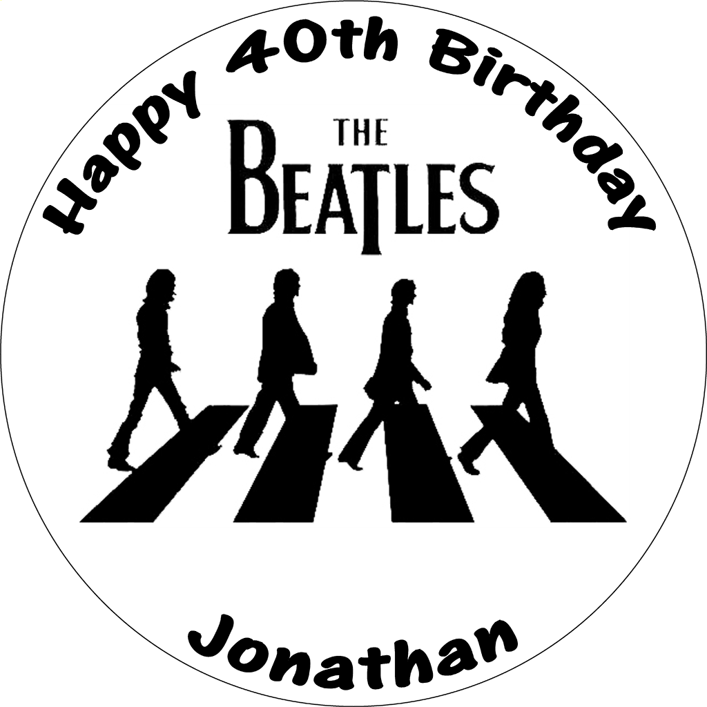 THE BEATLES BLACK WHITE ABBEY ROAD ROUND BIRTHDAY CAKE TOPPER